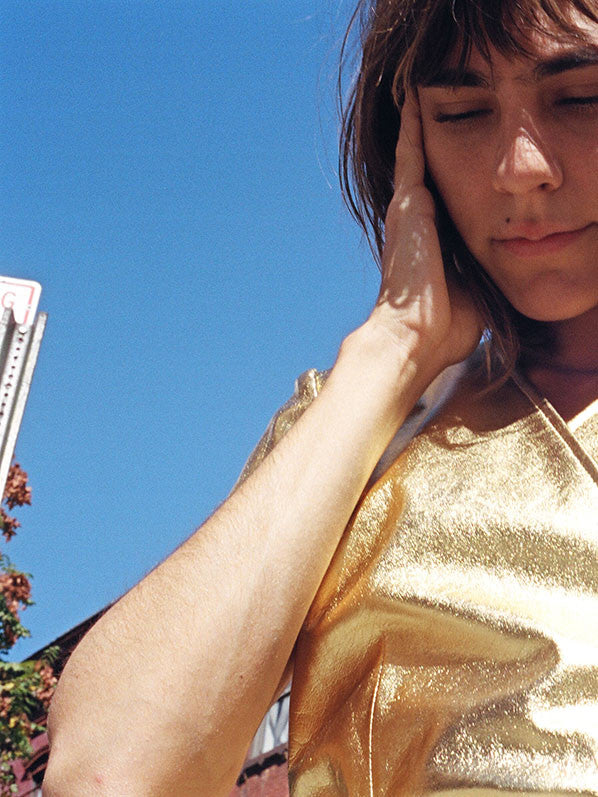 PINA WRAP TOP, GOLD LEATHER