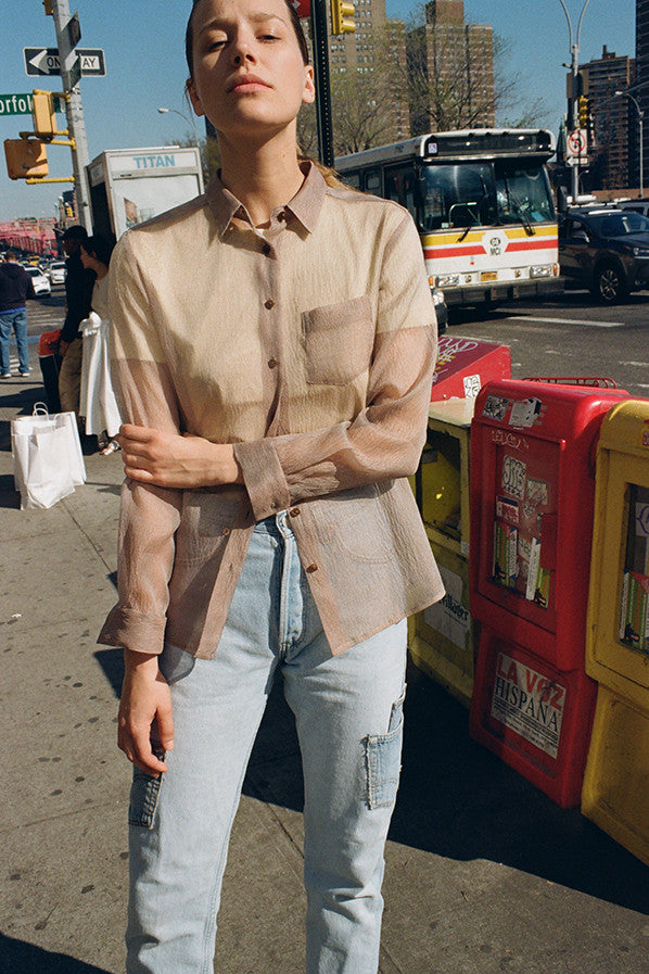 ANA BUTTON UP SHIRT, COFFEE