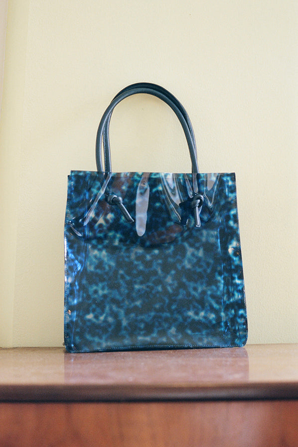 ANAISE TOTE WITH KNOT HANDLE, NAVY TORTOISE