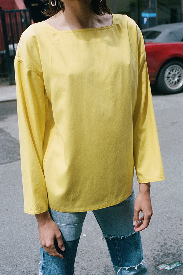 PALMA SHIRT, BUTTER YELLOW BROADCLOTH SILK