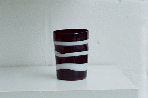 BLACK W/ WHITE STRIPES GLASS