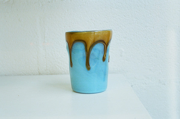 CYAN WITH MUSTARD DRIP GLASS