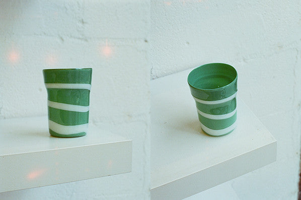 GREEN WITH WHITE STRIPES GLASS