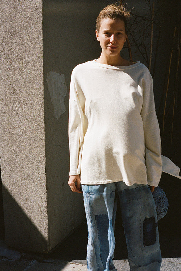 CASHMERE OVERSIZED SWEAT, BLEACH