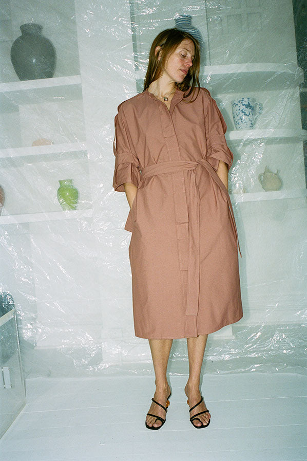 COAT DRESS WITH STRAPS, RUST