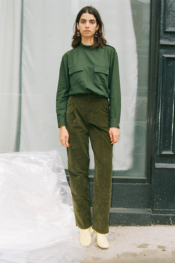 CORDUROY PLEATED TROUSERS, GREEN