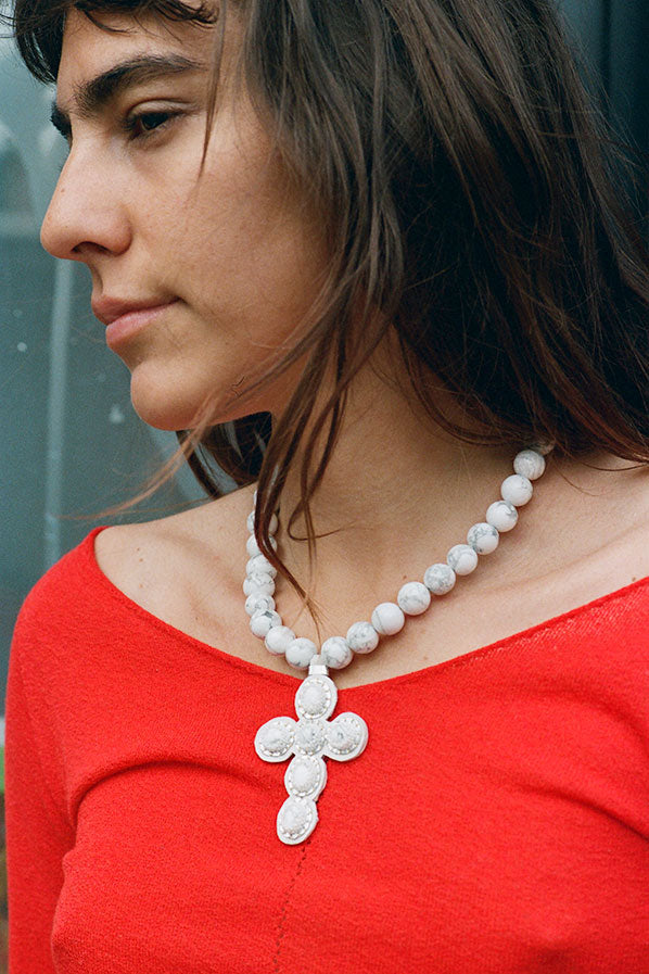 CROSS NECKLACE, WHITE HOWLITE