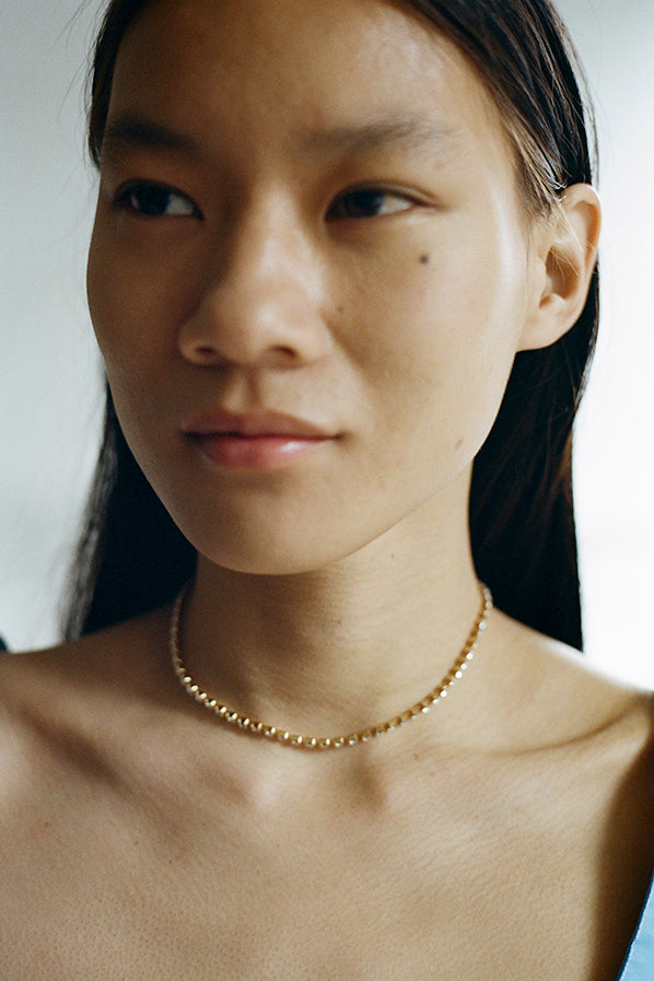 CRYSTAL CHOKER NECKLACE, 18K GOLD VERMEIL