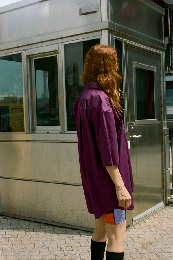 OVERSIZED SHORT SLEEVE SHIRT, DEEP PURPLE