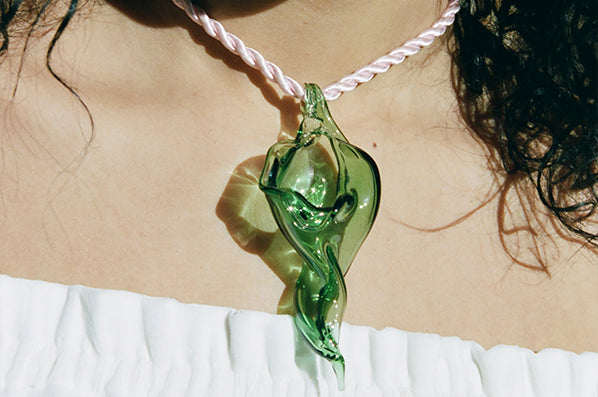 CONCH NECKLACE, GREEN/PINK CORD
