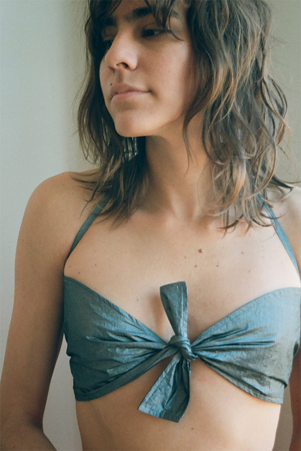 PINA BRA TOP, GUNMETAL METALLIC NYLON