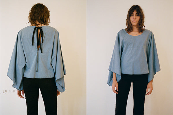 WIDE SLEEVE BLOUSE, LIGHT BLUE