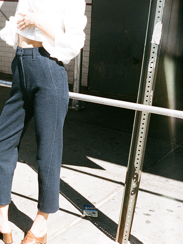 TAPERED TROUSERS, NAVY