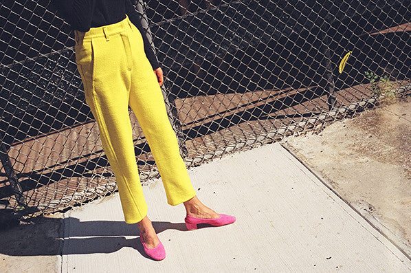 TAPERED TROUSERS, YELLOW