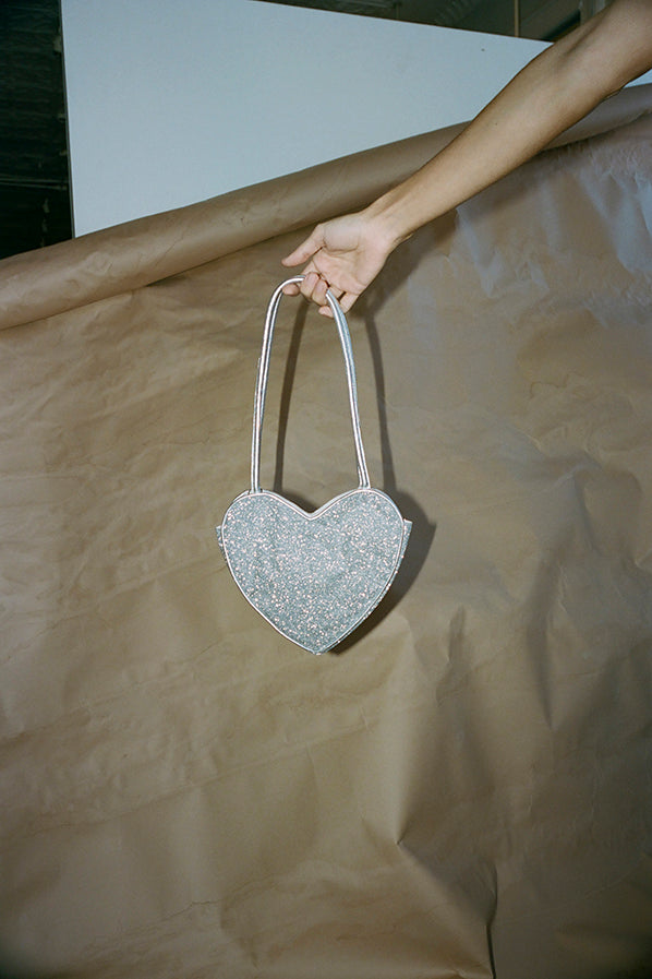 HEART PURSE, SILVER SPARKLE