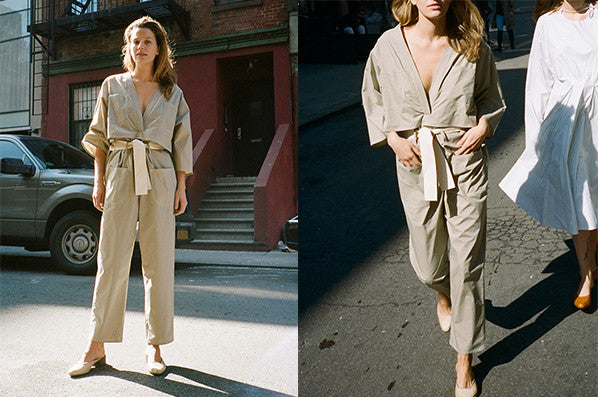 JUMPSUIT WITH BACK OPENING, KHAKI COTTON