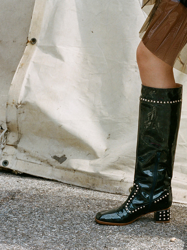 KIKI BOOT, DARK EMERALD PATENT