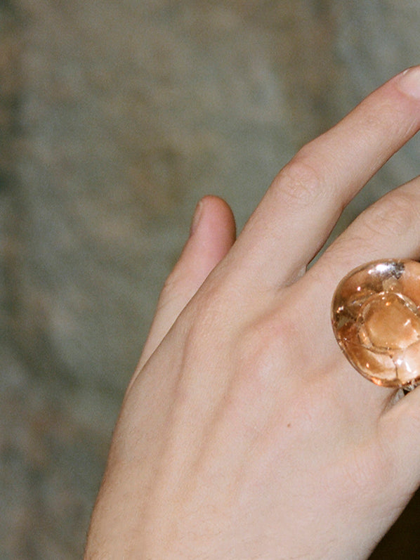 LARGE CIRCLE RING, TRANSPARENT CORAL