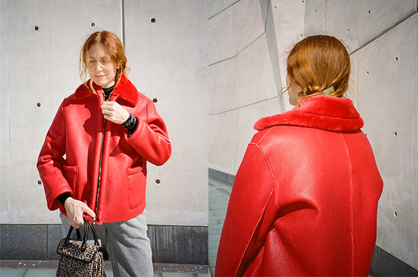 LEATHER COAT, RED