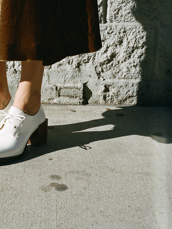 HEELED OXFORDS, OFF WHITE
