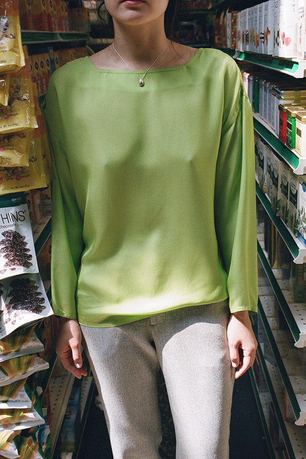 PALMA SHIRT, LIME SILK MESH