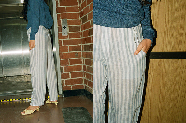 LINEN PYJAMA PANTS, STRIPED LIGHT BLUE