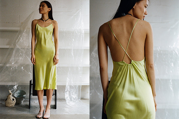 LOW BACK SLIP DRESS, HONEYDEW