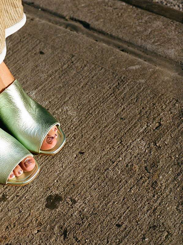 PENELOPE MULE, MINT METALLIC