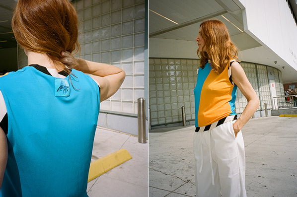 MULTI SLEEVELESS TOP, ORANGE/BLUE/CREAM/BLACK