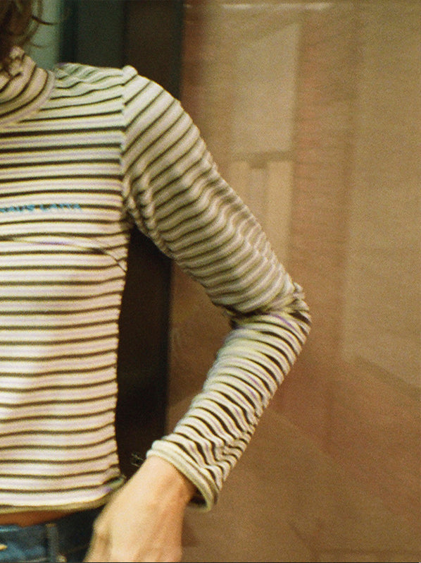 LAPPED BABY TURTLENECK, MULTISTRIPE