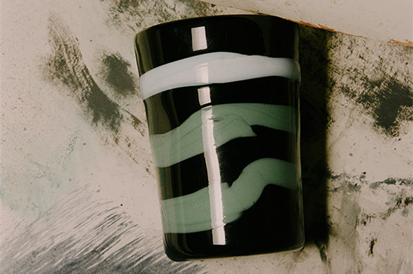 MURANO GLASS, BLACK WITH CYAN & GREEN STRIPES