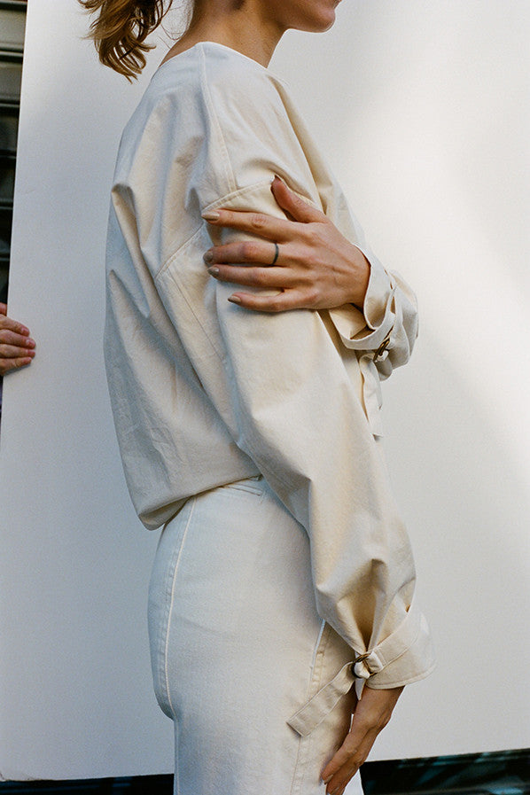 LARGE TWISTED PANTS, OFF WHITE