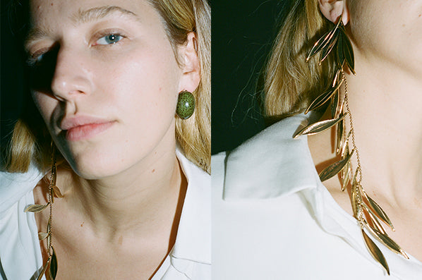 L'OLIVE EARRINGS, GREEN/GOLD