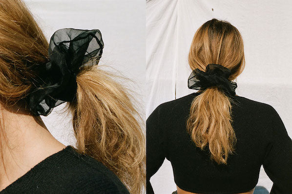 ORGANZA OVERSIZED SCRUNCHIE, BLACK
