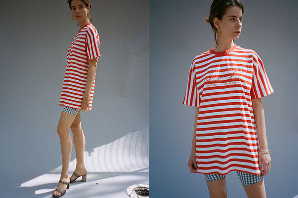 OVERSIZED STRIPE TEE, ORANGE/WHITE STRIPE