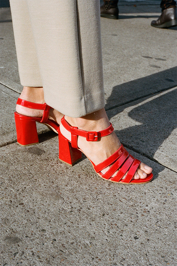 PALMA HIGH SANDAL, POPPY PATENT