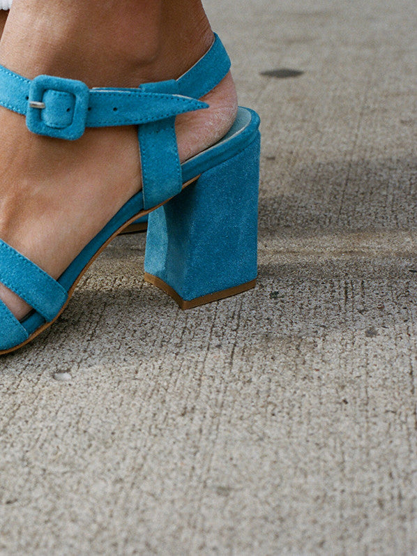 PALMA HIGH SANDAL, TURQUOISE SUEDE