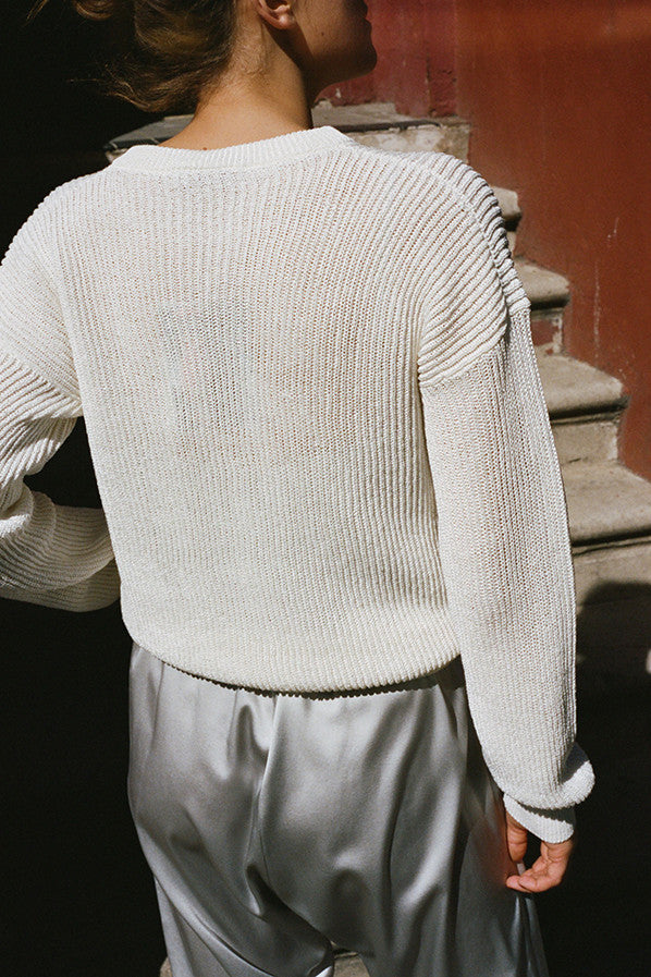 PAPER SWEATER WITH ONE YARN, OFF WHITE