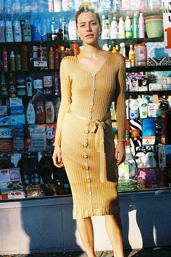PARIS KNIT DRESS, TAN