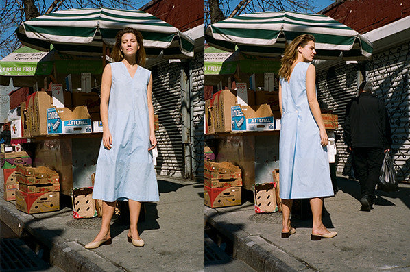 LONG COTTON DRESS, LIGHT BLUE