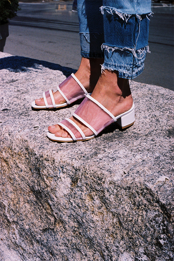 MARTINA SLIDE, WHITE CALF/PINK MESH