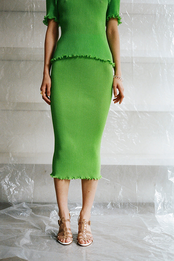 PLEATED KNIT SEAMLESS SKIRT, GREEN APPLE