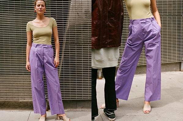 PLEATED TROUSERS, PURPLE COTTON