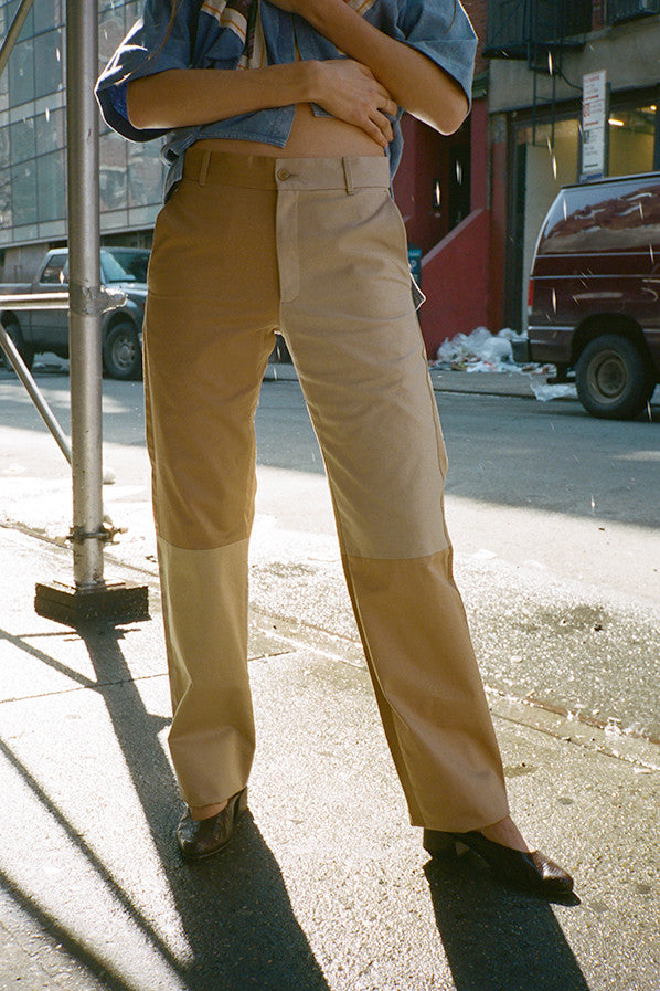 PLEATFREE TROUSERS, BEIGE MIX