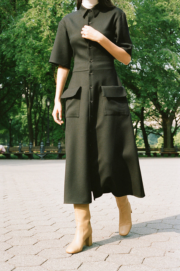 JAPANESE DOUBLE WOOL POLO DRESS, BLACK