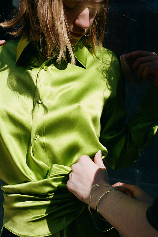 PULL SHIRT, LIME GREEN