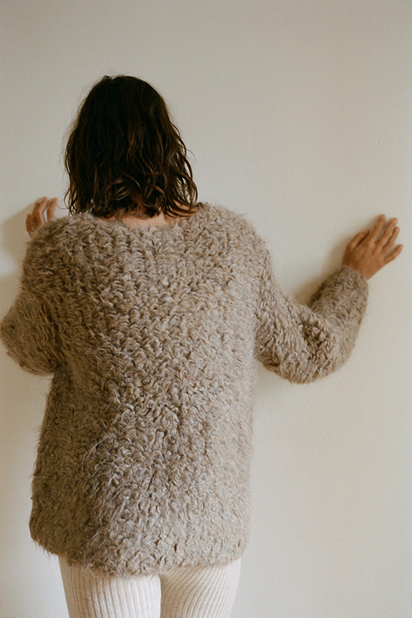 CARPET STITCH PULLOVER, BROWN COMBO