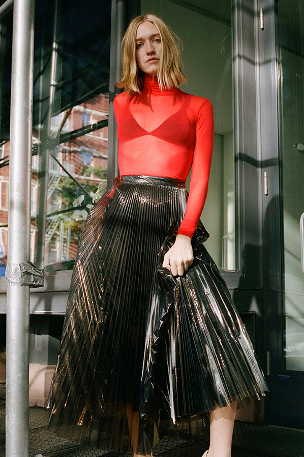PLEATED PVC MAXI SKIRT, SMOKE