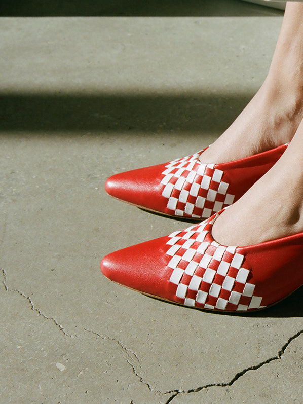 RUBY BASKETWEAVE PUMP, RED/WHITE