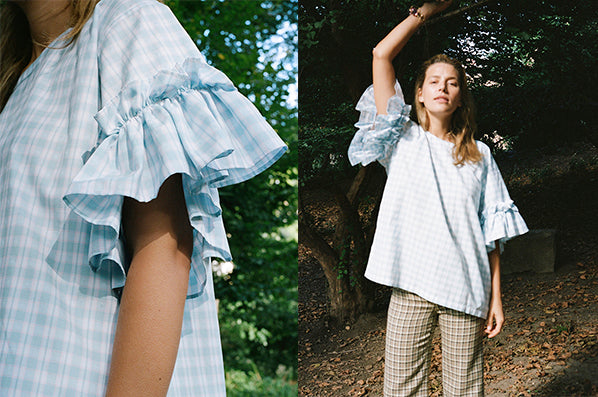 RUFFLED T-SHIRT, SOFT CHECK AQUA